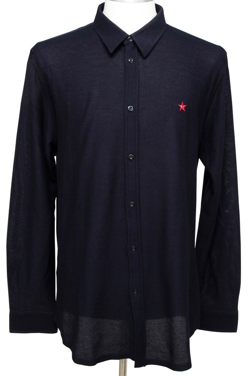 GIVENCHY Men's Shirt Navy bluee Long Sleeve Button Down Cotton Red Star Sz 44 NEW