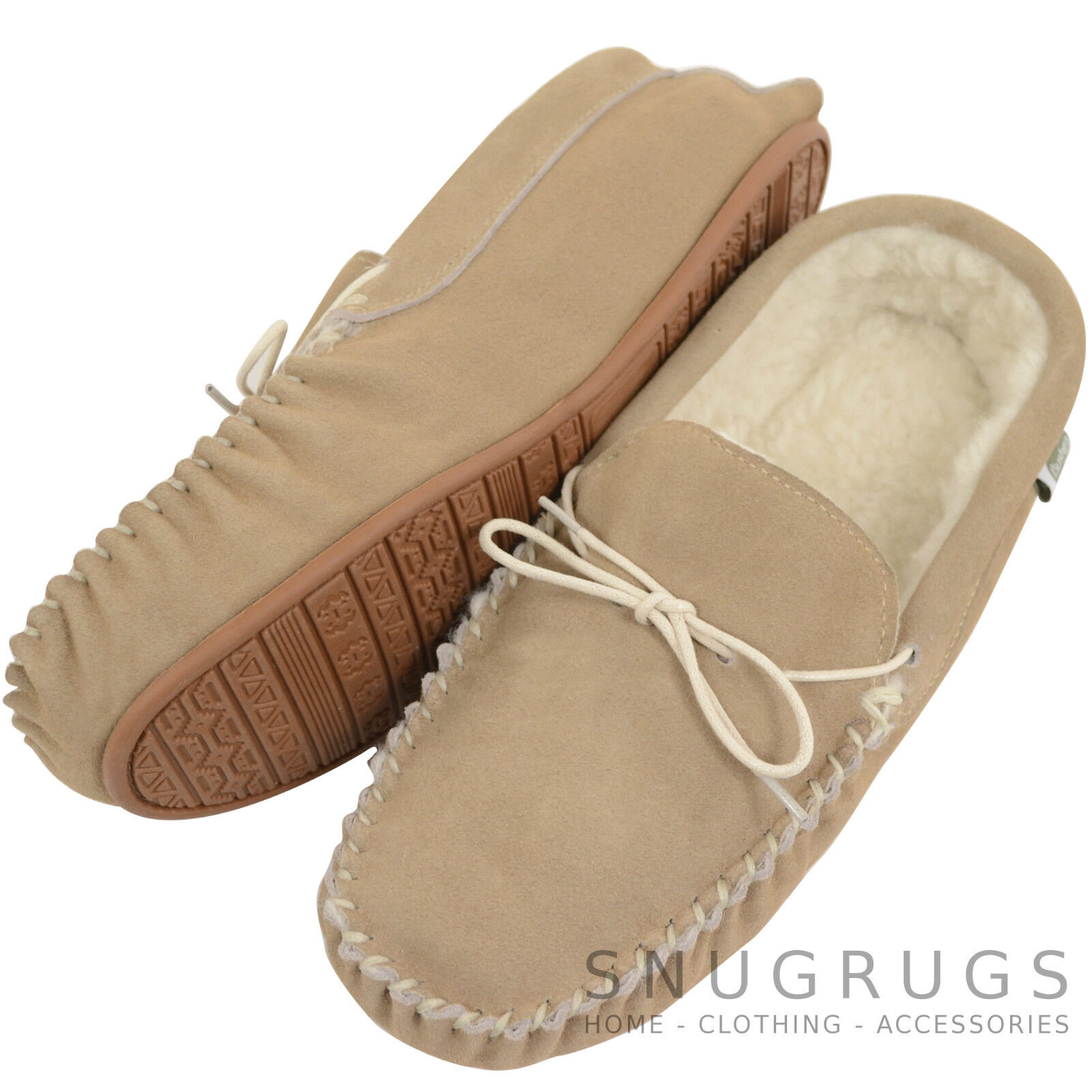 Bushga Ladies / Womens / Mens Beige Suede / Sheepskin Wool Moccasins Rubber Sole