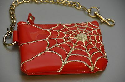 "Spider Web Coin Purse With 8/"" Chain Punk Gothic Rockabilly Bikers"