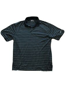 Nike-Dri-Fit-Men-039-s-Golf-Shirt-Polo-Navy-Blue-White-Striped-Size-Large-L