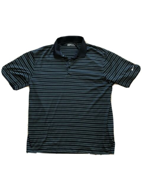 Nike Dri-Fit Men's Golf Shirt Polo Navy Blue White Striped Size Large L
