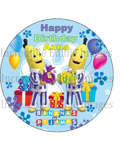 19cm Round Bananas In Pyjamas Edible ICING Cake Toppers ...