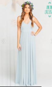 Show Me Your Mumu Jenn Maxi Gown Dress Steel Blau Größe Medium M  Msrp