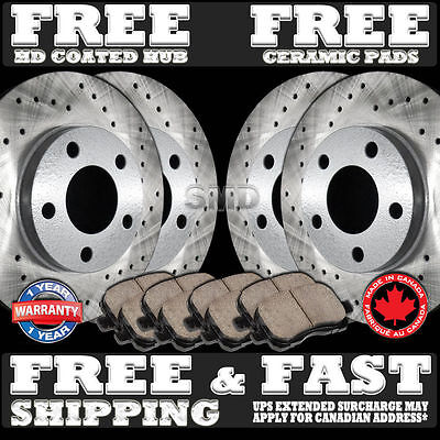 Front Drilled Rotors /& Ceramic Pads for 2008-2012 Ford Escape Model w// Rear Drum