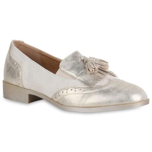 Klassische Damen Slippers Metallic Slip On Schuhe Schlupfschuhe 822043 Top