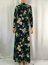 Vintage Gregg Draddy Size 12 Dress Floral Daisy Hippie Long Dress Long Sleeve