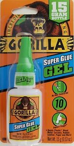 Gorilla Super Glue Gel 10 Sec Set 15g  Green Cap Bottle