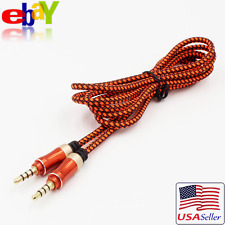 Braided Nylon Car Aux Auxiliary Cord Stereo Audio Cable 3.5mm Male to Male Red