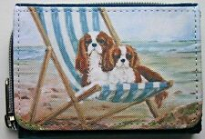CAVALIER KING CHARLES SPANIEL DOGS DENIM BLUE PURSE WALLET DECKCHAIR SANDRA COEN