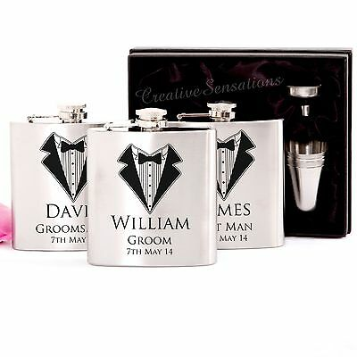 3x Engraved Stainless Hip Flask Gift Personalised Wedding Groomsman Bridal Party