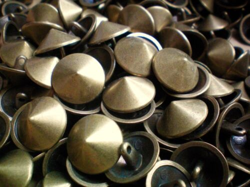 12mm 15mm 19mm 23mm 28mm Brass Bronze Metal Cone Dome Shank Buttons MB40-MB44