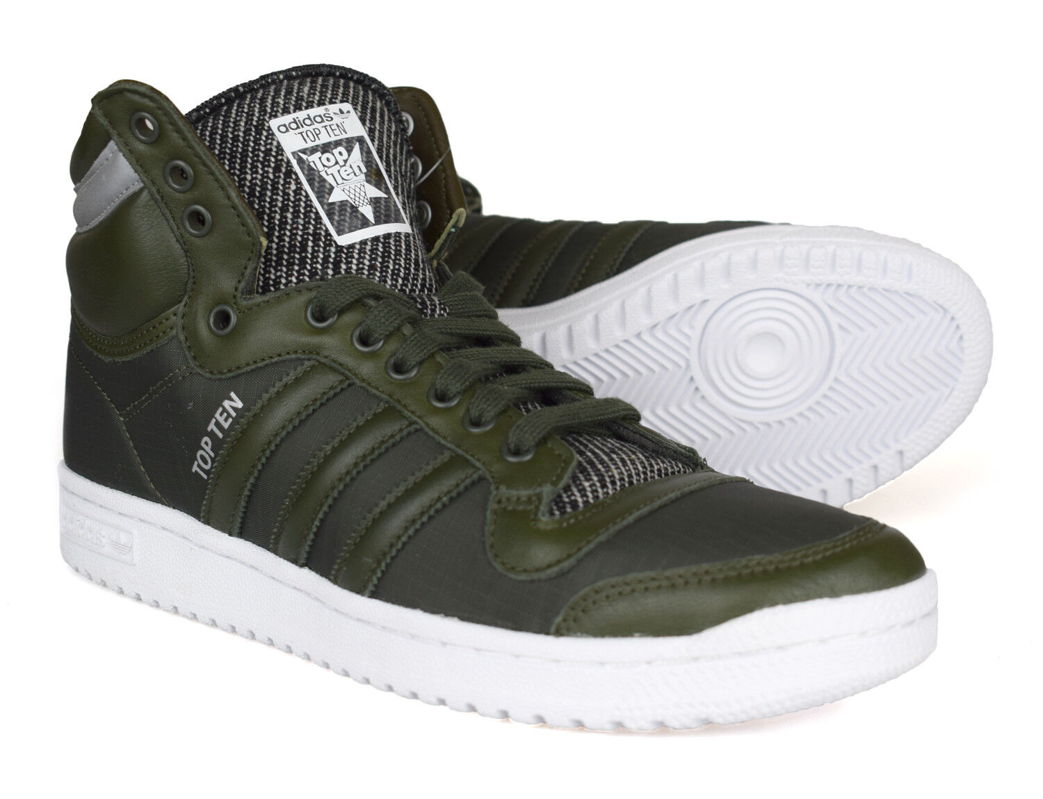 Adidas Originals Verde Oscuro Top Top Top Ten Hi Winterized Cuero Tenis B35374 0650b2