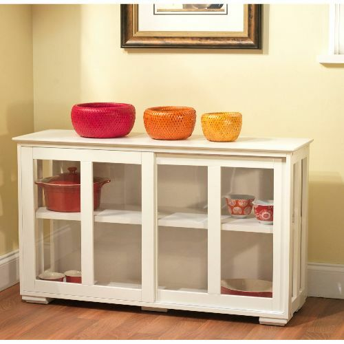 Glass Door Cabinet White Wood Sliding Doors Curio Display Case
