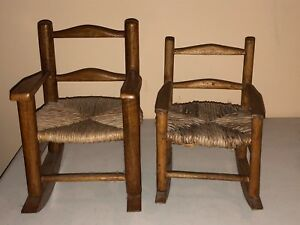 Awesome Details About 2 Vintage Oak Rocking Chair Rush Seat Antique Doll Display Rocker Machost Co Dining Chair Design Ideas Machostcouk