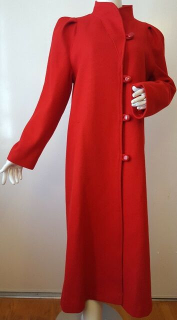 Vintage, Beau Brem, Wool Blend, Red, Full Length, Button-down Coat (Size Small)