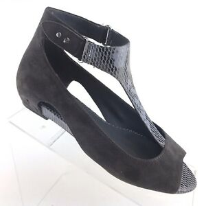 TSUBO Gerri Snake Low Wedge Flat T-Strap Gray Suede Leather Womens ... 4765cab7717