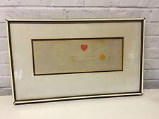 Vintage Mireille Kramer Aquatint Etching Print w/ 2 Doves Clock Heart & Hands
