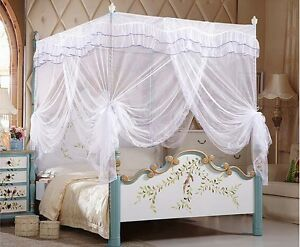 Luxury White Four Corner Post Bed Canopy Mosquito Netting Or Frame Post All Size