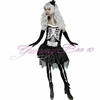 Skeleton Costume Fancy Dress Womens Halloween Adult Outfit Sexy Plus Size Horror