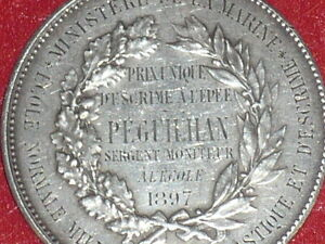 Coll-J-DOMARD-SPORT-RARE-MEDAILLE-ARGENT-ESCRIME-EPEE-1897-Ministere-MARINE