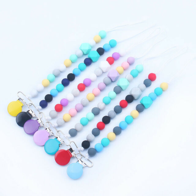 Silicone Beads Teething Pacifier Clips Chain Holder For Nipples Baby Chew Toys