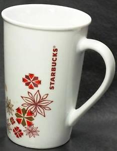 Starbucks Coffee Mug Red Gold Snowflakes 12 Ounce Holiday 2013