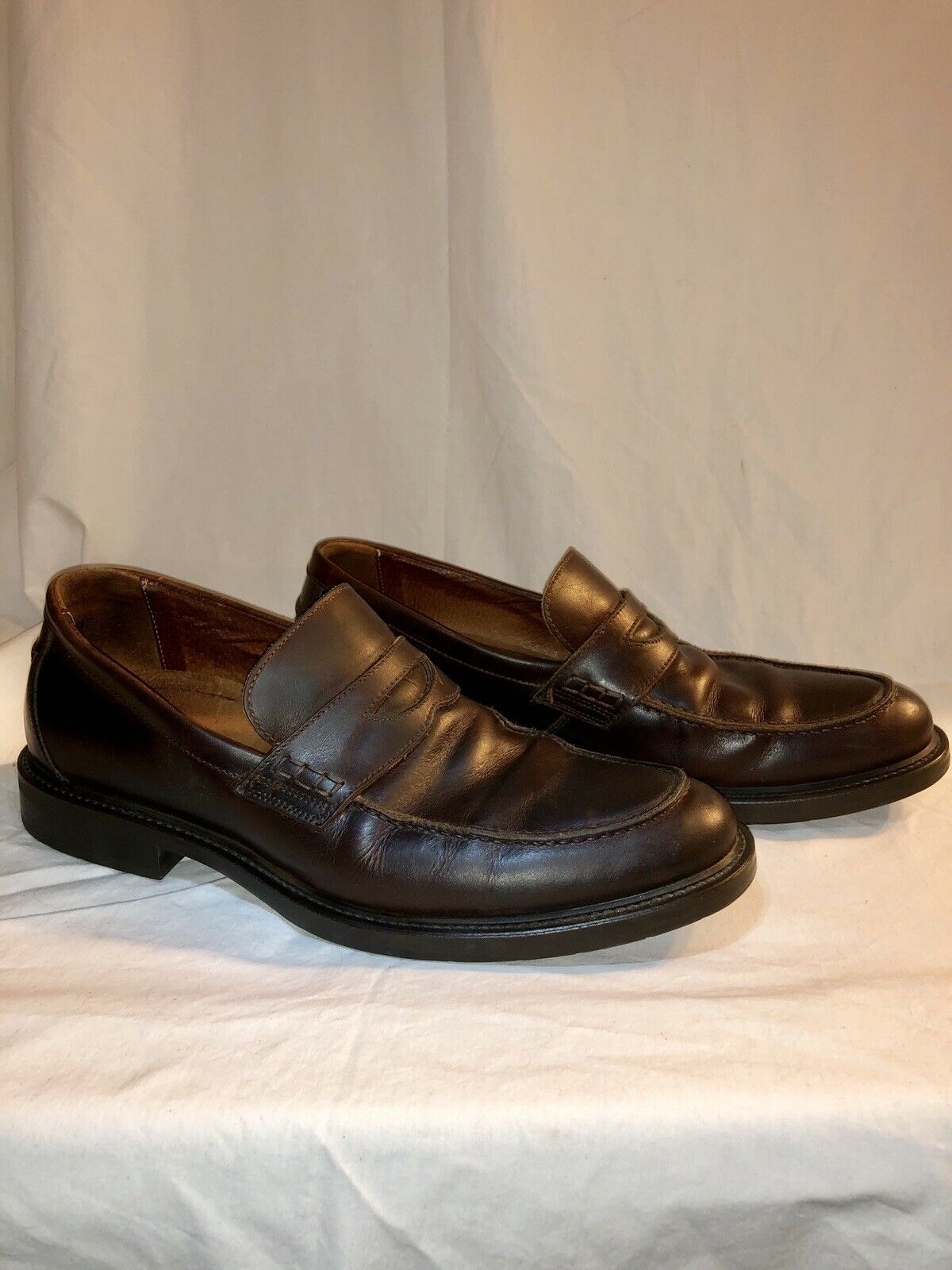 Johnston Murphy Ainsworth Penny Loafer Men Sz 10.5 Brown Slip On Sheepskin