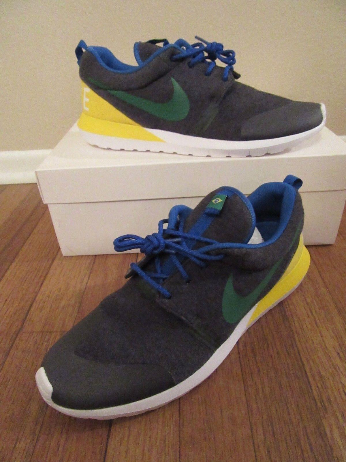 Nike Rosherun NM W SP Size 12 Brazil Black Heather Green Yellow 652804 037 NIB