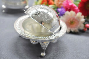 Vintage-Queen-Anne-Silver-Plated-Revolving-Butter-Dish-Globe-Sugar-Bowl-Gift