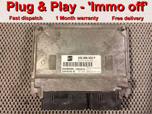 5WP40196 05 *Plug /& Play* Seat Ibiza VW 1.2 AZQ ECU 03E906033P Immo off