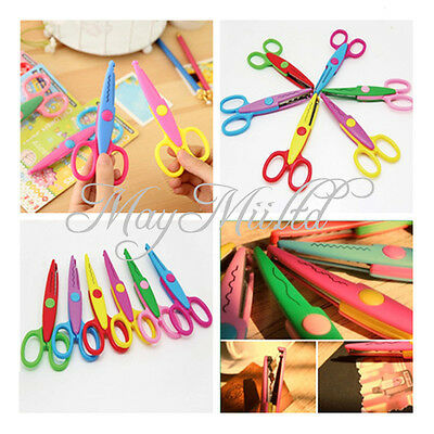 6X Decorative Scissor Paper Pinking Cutting Card Making Craft Wavy Shear DIY  L