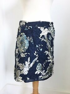9a5dd907e2 JOE BROWN's Blue Gold Jacquard Skirt Baroque 12 Evening Party Luxe ...