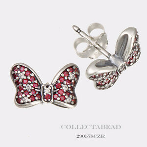 Authentic Pandora Silver Disney Minnie Bow Red Cz Stud