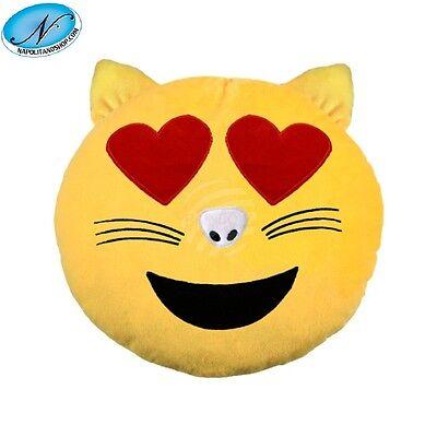 Cuscino Morbido Peluche Emoji Emoticon Gatto Innamorato Faccina Whatsapp Smiley