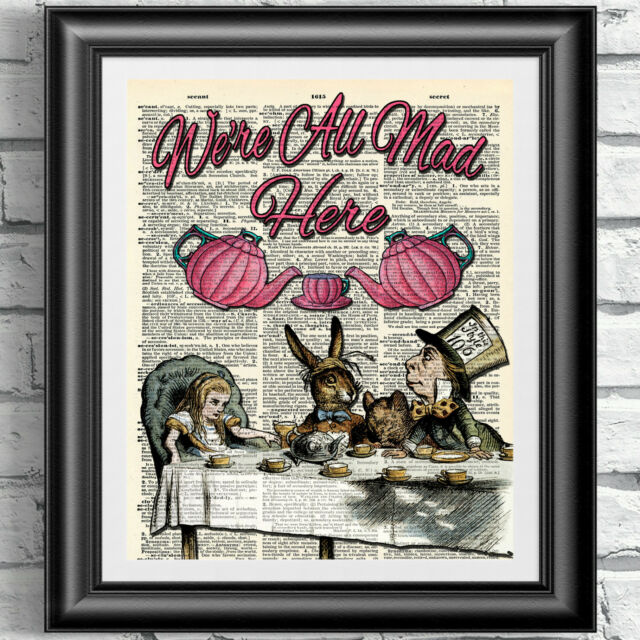 Dictionary art print alice in wonderland mad tea party pink teapots mad hatter