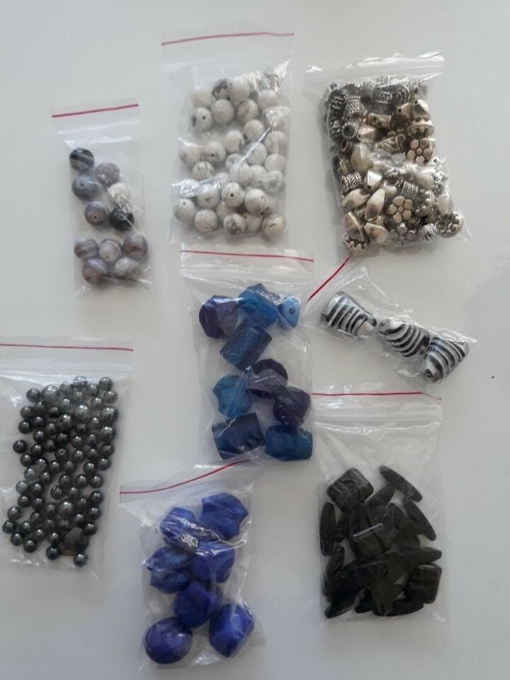 Perler, 8 poser blandede perler