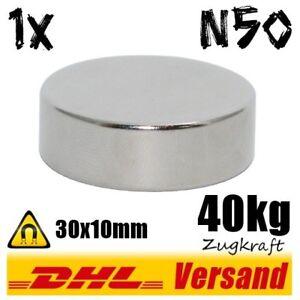 Neodym-Magnet-30x10-mm-D30x10mm-40kg-Zugkraft-N50-stark-Industriemagnet-Magneten