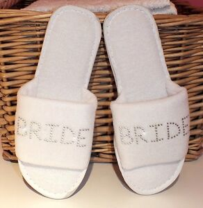 89911ba8a4f986 Image is loading Personalised-Slippers-WEDDING-SPA-BRIDESMAID-DIAMANTE-HEN -GIFT-