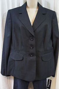 "Evan Picone Jacket Sz 14 Navy ""Victoria"" Blazer Faux Front Pocket Career Jacket"