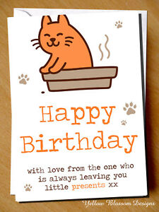Image Is Loading Funny Happy Birthday Card With Love Cat Mum
