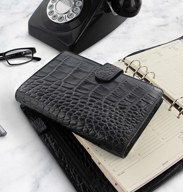 Filofax Classic Croc Personal Organiser,Ebony Brand New /& Reduce Price