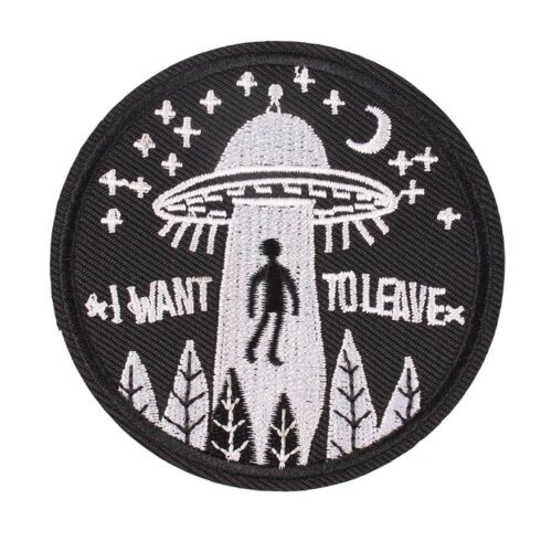 "/""I Want To Leave/"" Embroidered Iron ON Patch Fabric Applique for Clothes 3/"""