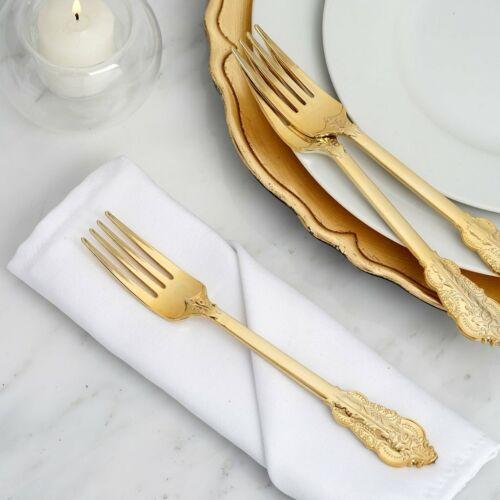 "24 pcs Gold Metallic Plastic 8/"" Forks Wedding Party Disposable Tableware SALE"