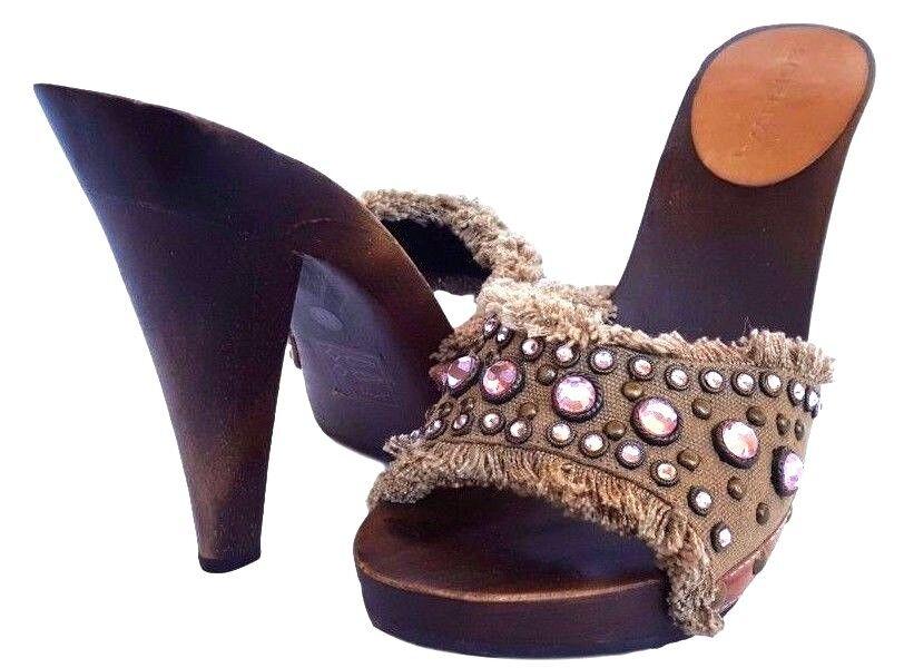 New SOPHYA Shoe Fringed Canvas Studded Heel Shoe SOPHYA 8 8dd6d2