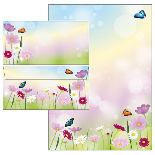 schöne Blumenwiese Set Motivpapier Briefpapier 20 Blatt A4 10 Kuverts Blüten