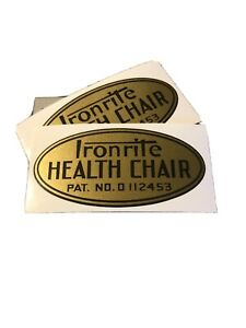 Ironrite Health Chair Mid Century Label Decal 2 for 1 reproduction