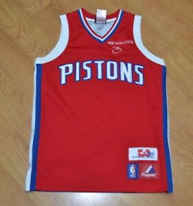 new arrival 31527 146ac Details about Detroit Pistons Ben Wallace Sewn Basketball Jersey Youth  Medium 10-12 Nice 00s