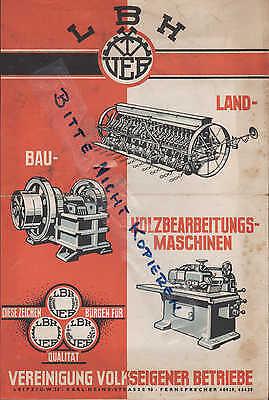 Effizient Leipzig, Werbung 1949 Für Holzbearbeitungs-maschinen, Lbh - Vvb, Messe-prospekt