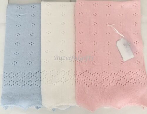 Beautiful Spanish Style Traditional Knitted Scalloped Pointelle Shawl Blanket