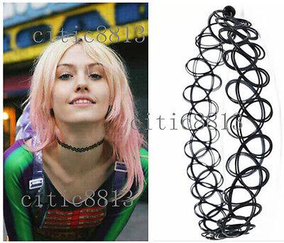 Charm Hippy Stretch Tattoo Choker Necklace Goth Hippie Elastic Chocker BLACK CIT